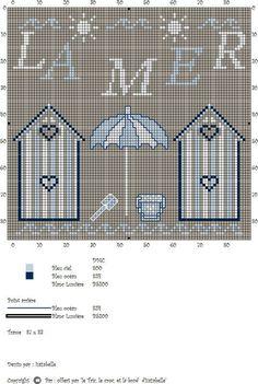 """Le Tric, le troc et le brode d' Isazabelle"" - La mer Cross Stitch Sea, Cross Stitch Charts, Diy Embroidery, Cross Stitch Embroidery, Funny Cross Stitch Patterns, Crochet Cross, Nautical Theme, Fabric Painting, Strand"