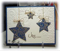 Christmas Card - love the heat embossed stars and the dry embossed background. - Christmas Card – love the heat embossed stars and the dry embossed background. Homemade Christmas Cards, Christmas Cards To Make, Homemade Cards, Holiday Cards, Handmade Christmas, Christmas Stars, Elegant Christmas, Simple Christmas, Christmas Ornaments