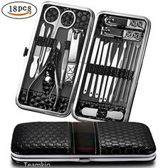 Teamkio Manicure Pedicure Set Nail Clippers Travel Hygiene Kit Stainless Steel Nail Cutter Care Set Scissor Tweezer Knife Ear Pick Utility Tools Grooming Kits with Leather Case 18 in 1 pcs (Black). For product & price info go to:  https://beautyworld.today/products/teamkio-manicure-pedicure-set-nail-clippers-travel-hygiene-kit-stainless-steel-nail-cutter-care-set-scissor-tweezer-knife-ear-pick-utility-tools-grooming-kits-with-leather-case-18-in-1-pcs-black/