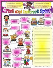English worksheet: Direct and Indirect  / Reported Speech - Part 1