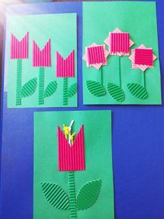 Keväinen kortti. Kukat aaltopahvista  AHP
