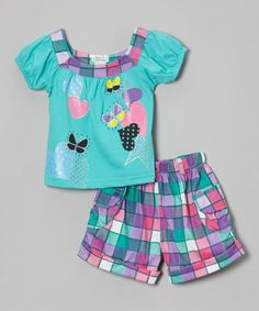 Another great find on #zulily! Teal Heart Square Neck Top & Shorts - Infant, Toddler & Girls #zulilyfinds