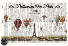 Vintage Dictionary Art Print Hot Air Balloon by VintagePrint54, $8.50