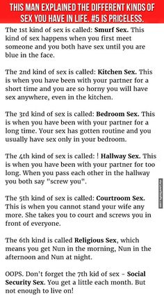 Man Explains The Different Kinds Of Sex You Have In Life funny jokes story lol funny quote funny quotes funny sayings joke hilarious humor stories funny jokes adult jokes best jokes ever best jokes