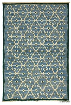 """K0007948 Blue New Handwoven Turkish Kilim Rug - 6' 8"""" x 9' 7"""" (80 in. x 115 in.) Discount Area Rugs, Area Rugs For Sale, Patchwork Rugs, Custom Rugs, Turkish Kilim Rugs, Rugs On Carpet, Hand Weaving, Vintage Rugs, Light Blue"""