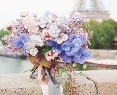 Blush, periwinkle, and lavender bouquet