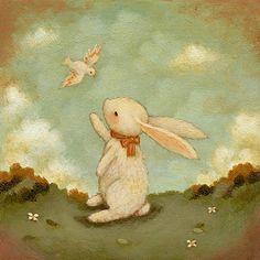 Hello Bunny Print 8x8 Bunny Print Bunny Art Kids by thelittlefox
