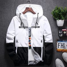da5d1f0e0eb New Spring Autumn Bomber Hooded Jacket Men Casual Slim Patchwork  Windbreaker Jacket Male Outwear Zipper Thin Coat Brand Clothing