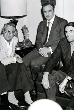 Rock Hudson, Cary Grant, Marlon Brando, and Gregory Peck. Rock and Cary look a lot alike. And Gregory Peck. What a handsome man he was. Old Hollywood, Hooray For Hollywood, Golden Age Of Hollywood, Hollywood Stars, Classic Hollywood, Hollywood Rock, Hollywood Icons, Gregory Peck, Marlon Brando