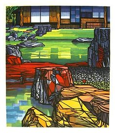 Colour vibrancy as though lit from behind. Woodblock print by Clifton Karhu