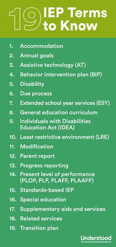 IEP Terms to Know Does your child have an Individualized Education Program (IEP)? If this is a new development, you may run into some language you're not familiar with. Here are key terms you'll see and hear as you work with the IEP team. Teaching Special Education, Teaching Tools, Higher Education, Education City, Inclusive Education, Education System, Physical Education, Special Education Degree, Special Education Inclusion