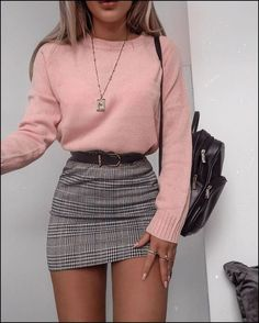 Plaid Skirt With Pink Sweater ★ Cute casual back to school outfits for teens, highschool and for college, to make your first day of school unforgettable! ★ Source by delicateandlayered outfits for teens Winter Fashion Outfits, Girly Outfits, Mode Outfits, Retro Outfits, Look Fashion, Outfits For Teens, Fall Outfits, School Outfits, College Outfits