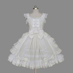 Fabulous Ivory Short Sleeves Square Collar Bowtie Lace Layered Lolita Gowns