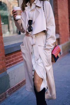 Aimee Song of Style wears a white Ralph Lauren Shirtdress and Tibi soft trench Coat