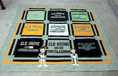 This cheerleading T-Shirt quilt commemorates a team that won five consecutive state championships.