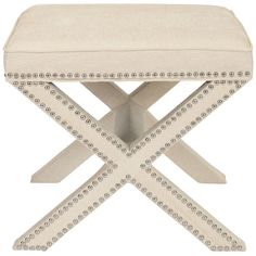 We love this upholstered ottoman for use at a bathroom vanity. | $153