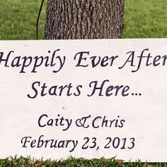 """Gallery - In Bliss Weddings. Caity and Christopher.As the guests arrived at the bride's mother's home, a sign titled """"Happily Ever After"""" greeted them in the side yard.  - See more at: http://inblissweddings.com/gallery/image/8440/1?_id=214=true=image_popup=component#sthash.5osVquwt.dpuf"""