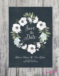 Wedding save the date invitation custom dark by RachelsWorkroom