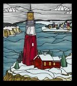 Stained Glass Pattern Winter Lighthouse