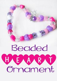 beaded heart ornament