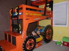 Geoff Tessau built this Kubota Tractor bunk bed for his sons.