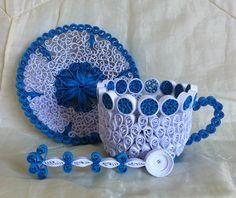 paper rolled teacup tasse, sous-tasse et cuillère en papier roulé (quilling)