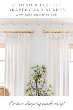 At Q. Design, we know how custom drapery can transform a space from blah to soft and cozy and complete. And we make it easy to order drapery online by helping you through the measuring and ordering process. Seen here is our Cozy Linen 2-fold pinch pleat drapery panels paired with our Satin Brass hardware in the vacation home of @thelesliestyle, proving that even white drapes can add so much WOW to a space. Click to explore all of Q. Design's drapery and to order your 5 free swatches today! Drapery Panels, Panel Curtains, Window Coverings, Window Treatments, Drapery Designs, Wood Bridge, Brass Hardware, Curtain Rods, Custom Pillows