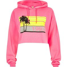 River Island Pink palm tree print cropped hoodie ($52) ❤ liked on Polyvore featuring tops, hoodies, river island, hoodies / sweatshirts, pink, women, hooded sweatshirt, pink hoodie, pink hooded sweatshirt and hoodie crop top