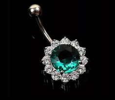New Fashion Flower Steel Zircon Crystal Navel Belly Ring Button Bar Body Piercing Jewelry Good Quality Belly Rings, Belly Button Rings, Bell Button, Flower Fashion, Navel, Body Jewelry, New Fashion, Gems, Crystals