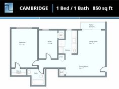 Our Cambridge one-bedroom, one-bathroom apartment home floor plan is a great first apartment for a couple moving in together! Parking, in-house washer driers, and newly renovated kitchens are just some of the features we offer.
