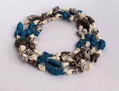 Unique double satin necklace - blue and ecru