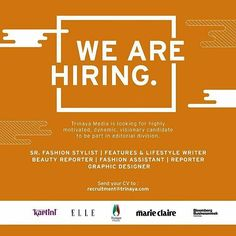 We are open recruitment for highly motivated dynamic and visionary person to be part of us. Send your CV to recruitment@trinaya.com #trinayamedia #ELLE #ELLEindonesia #ELLEhire #hiring via ELLE INDONESIA MAGAZINE OFFICIAL INSTAGRAM - Fashion Campaigns  Haute Couture  Advertising  Editorial Photography  Magazine Cover Designs  Supermodels  Runway Models