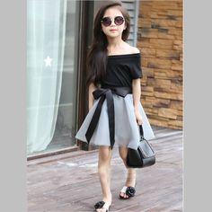 New Summer Fashion Short Sleeve Off Shoulder Black T Shirt Mesh Skirt With Ribbons Elegant Girls Clothing Set Dres free shipping