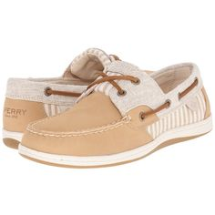 Sperry Top-Sider Koifish Stripe Women's Lace up casual Shoes ($90) ❤ liked on Polyvore featuring shoes, leather deck shoes, top sider shoes, leather boat shoes, striped shoes and stripe shoes