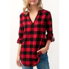 Rotita Split Neck Roll Tab Sleeve Plaid Blouse ($30) ❤ liked on Polyvore featuring tops, blouses, red, three quarter sleeve tops, sleeve blouse, pattern blouse, collar blouse and three quarter length sleeve tops