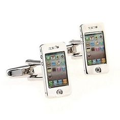 Fashion 1.8cm Men's Silver Toy Mobile Phone Cufflinks(Silver) (1 pair) – USD $ 16.99