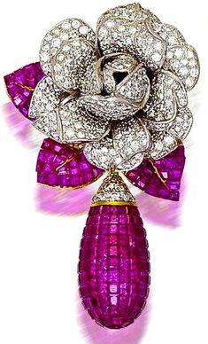 Ruby & Diamond Earring by Cartier