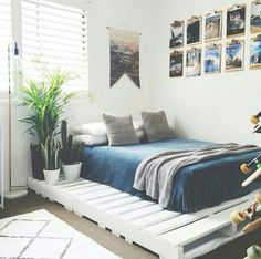 Palette bed.. put bed in the middle of pallets and put a shaggy rug like how alexs' bed is. And then it'd be so comfy. But loose the cactus, id poke myself every morning. Haha
