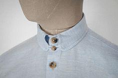 Sky-blue wool-cotton Kelly collar shirt.