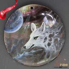 Keychain Hand Painted Wolf Head Necklace Shell Pendant Beads ZL303396 #ZL #Pendant