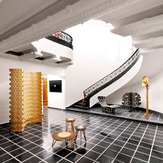 Cutting-edge pieces at furniture manufacturer Pirwi's showroom, in the Polanco district of Mexico City. Visiting Mexico City, Floor Layout, Grand Staircase, Stairs, Home Accents, Best Hotels, My Dream Home, Interior Inspiration, Architecture Design