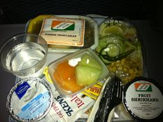 Newark to New Delhi, India is a dream. The in-flight meal and snacks are vegetarian.