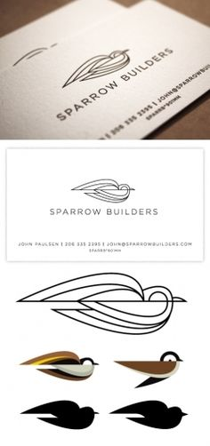 Sparrow Builders / Invisible Creature Speaks | Branding / logo / design / identity / development / bird / shapes