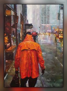 2020 . Oil - canvas . 70 x 50 cm . New York Rain, Cool Sketches, Fine Art, Canvas, Drawings, Illustration, Artist, Painting, Oil