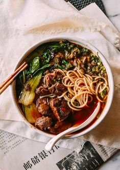Taiwanese Beef Noodle Soup is a perfect orchestration of tender beef a rich and slightly spicy broth fresh noodles a little bok choy and that absolutely necessary fistful of Chinese pickled mustard greens and fresh scallions and cilantro. Slow Cooking, Cooking Recipes, Pickled Mustard Greens, Greek Diet, Asian Recipes, Healthy Recipes, Beef And Noodles, Korean Noodles, Soups And Stews