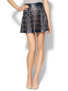 Parker Filomena Leather Skirt - Navy $330.00 - Buy it here: https://www.lookmazing.com/parker-filomena-leather-skirt-navy/products/6484633
