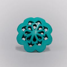 Acrylic Persia Flower Knob Turquoise - door knobs & handles