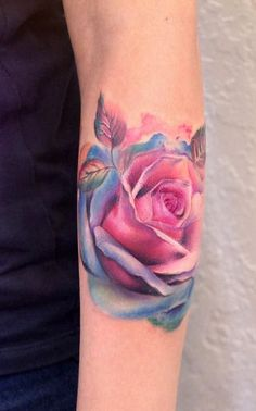crazy watercolor rose tattoo by Yershova Anna