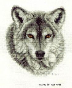 Wild Animal Cross Stitch Patterns Free | Grey Wolf Cross Stitch Pattern animals