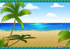 beach scenes | How to Draw a Beach Scene, Step by Step, Landscapes, Landmarks ...